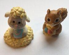 Hallmark 2 Merry Miniatures Easter Lamb Egg Flowers Squirrel M-8
