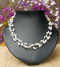 * Freedom Tree* Elegant Triple Strand Genuine Freshwater Pearl Necklace
