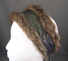 Dk Grey Green faux fur lined quilted ear warmer muffs head wrap hat cover ski