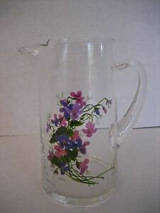 Vintage Avon Forget Me Nots Glass Hand Painted Juice Pitcher 8 in.T  New