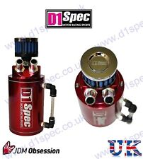 D1 SPEC UNIVERSAL OIL CATCH TANK WITH AIR FILTER RED 9mm & 15mm NOZZLE JDM