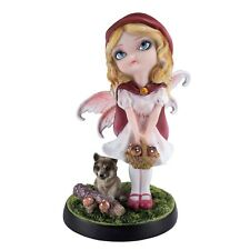 """Fairy Tale Little Red Riding Hood Fairy Figurine With Wolf 5.75""""H Resin New!"""