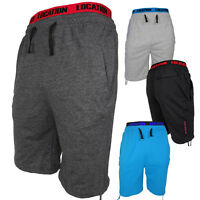 Mens Location Long 3/4 Length Fleece Knee Shorts Summer Logo Jogger Short New