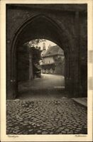 Bautzen alte Postkarte Sachsen 1910 Straßenpartie am Schlosstor Durchblick