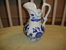 Superb Chinese Or Japanese Blue & White Pitcher Vase-Large Vase W/Curved Handle