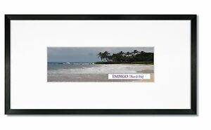 Set of 2 - 10x20 Black Wood Frames ,Glass, 8-Ply White Panoramic Mats for 4x12.