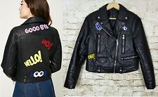 Forever 21 Womens Black Goodbye Patch Faux Leather Moto Biker Jacket Lined S/M