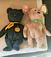 2 TY Beanie Babies Bears HAUNT (Black Sparkle) & SPECKLES (multi) with tags VVGC