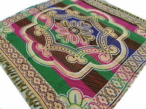 LARGE INDIAN RUG WITH 2 SIDES INDIAN PATTERNS HANDMADE STRONG COTTON