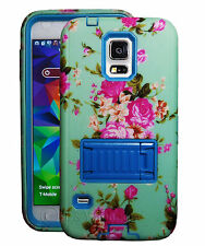 Flower 2 layer Built in Screen Protector Stand Case For Samsung Galaxy S5 Blue