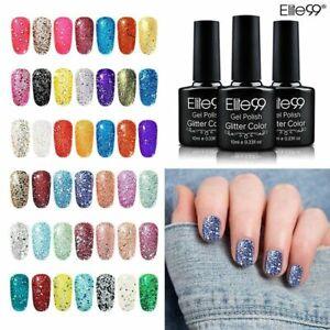 Elite99 10ML UV LED Diamond Gel Nail Polish Glitter Colour Base Top Manicure DIY