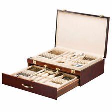 Italian Collection Flatware Wooden Box, Premium Case for Flatware with drawer