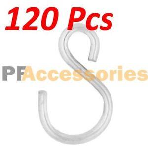 """120 Pc 1.5"""" inch Small Zinc Plated Steel S Shape Type Utility Hooks Hangers Hook"""