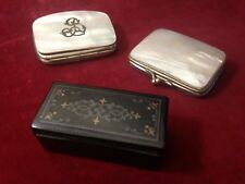 Objets de vitrine XIXe 2 porte-monnaies nacre boîte Napoléon III purse box 19th