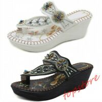 Womens Embroidery Floral Ethnic Beads Decor Flip Flops Wedge Heels Slipper Thong