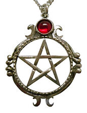 w Red Stone Necklace Real Metal Jewelry Pentacle