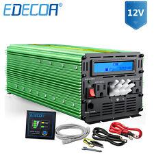 EDECOA 3000W 6000 12V dc to 110V 120V ac automotive Power Inverter LCD cable Car