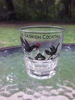 Vtg Old Fashion Cocktail 7 Oz Drink Glass Rooster Chicken Farm Barn Barware