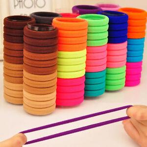 100Pcs Women Girls Hair Band Ties Rope Ring Elastic Hairband Ponytail Holder /bw
