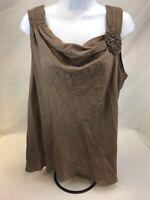 Ann Taylor Women's Brown Silk Sleeveless Sheer Scoop Neck Blouse Sz L