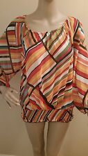 NWT Spense Multicolor Stripe Blouse Small Sheer Scoop Neck Gathered Waist $58
