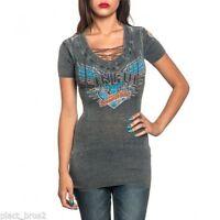 Sinful AFFLICTION Womens Sweater Dress Shirt Top ISLA Tie-Up V-NECK Biker $108