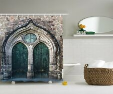 Rustic Castle Door Graphic Shower Curtain Antique Architecure Gate Bath Curtain