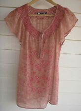 Dotti Women's Beige & Pink Paisley/Floral Short-Sleeve Top - Size 12