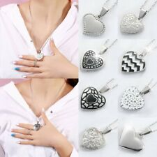 Charm Stainless Steel Silver Love Heart Pendant Necklace Valentine's Day Jewelry
