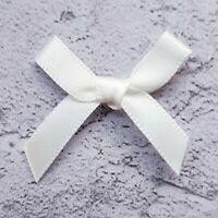 7mm Small Satin Ivory Ribbon Bows For Card Making Craft Sewing Art & Craft