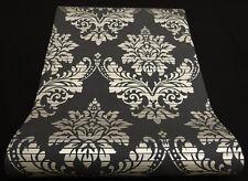 13373-14) Design Vliestapete Glamour Barock Ornament  schwarz silber