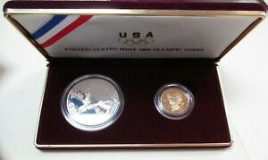 1988 United States Mint Olympic Coins Proof Silver Dollar & Gold Five Dollar