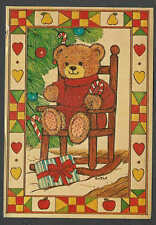 Ca 1960* PPC XMAS TEDDY BEAR IN HIGH CHAIR W/HEARTS&FRUIT BORDER 4X6 HAS CREASE