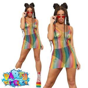 Fever Rainbow Fishnet Dress Festival Pride Carnival Ladies Fancy Dress Outfit
