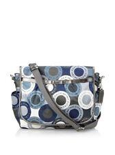Coach Signature Snaphead F18377 Blue Multifunction Diaper Baby Messenger Bag Pad