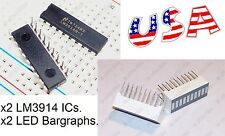 x2 LM3914 IC LED Display Driver + x2 LED Bargraph 10-Segs (Bar Graph Light) USA