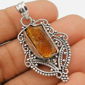 Natural Rough Orange Kyanite 925 Solid Sterling Silver Pendant Jewelry, IT6-4