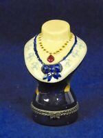 Enamel & Metal Victorian Lady Bust Trinket Pill Box Blue & White 3 1/4 Inch Tall