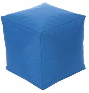SQUARE BEAN BAG BLUE CUBE SHAPE 40 x 40 x 40cm CUSHION LIKE POUFFE KIDS ADULT