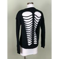 EXPRESS Spine and Ribs Cutouts Goth Punk Deep V-Neck Layering Sweater Top Size S