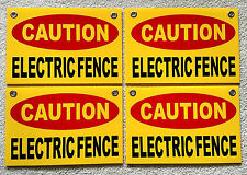"""4 CAUTION ELECTRIC FENCE Plastic Coroplast Signs 8""""X12"""" w/Grommets FREE SHIP y"""