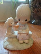 Precious Moments Figurine Loving is Sharing 1979 E3110/G Girl With Dog