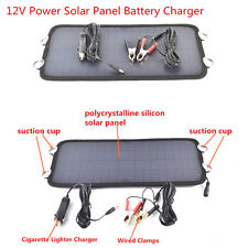 8.5W 12V Car SUV Power Solar Panel Battery Charger Alligator Clip Cigarette Plug