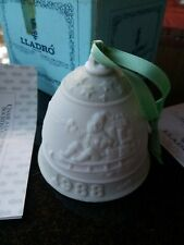 """1988 Lladro Porcelain """"Christmas Bell"""" with Original Box, Ribbon, Papers"""