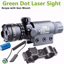 Green Dot Laser Sight Rifle Gun Scope w/ Rail + Barrel Mount Cap Pressure Switch