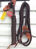 22 FT Round Braided Mecate Bosal Reins w/ Slobber Straps & Leather Popper BROWN