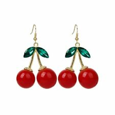 1 Pair Women Fashion Cherry Drop Dangles Rhinestone Earrings S8T4
