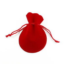 200x Small Red Velvet Jewelry Gift Gold Silver Gift Favor Party String Bag Pouch