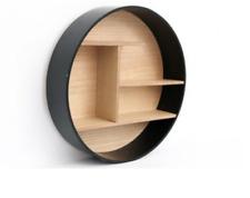 Wooden Black Round Wall Shelf Display Multishelf Storage Holder Organizer Unit