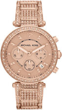 Michael Kors MK5663 Parker Rose Gold Tone Glitz Chronograph Wrist Watch RRP £375